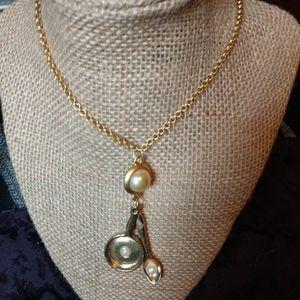 Golden spoon frying pan necklace faux pearls OOAK